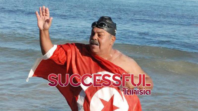 Le nageur tunisien Najib Balhadi, 59 ans, s'apprête à parcourir 155 km de tunisie à l'Italie